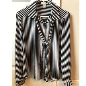 Striped Black & White Blouse